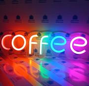 Вивіска Coffee неонова led neon різнобарвна 485х140мм з диммером Киев